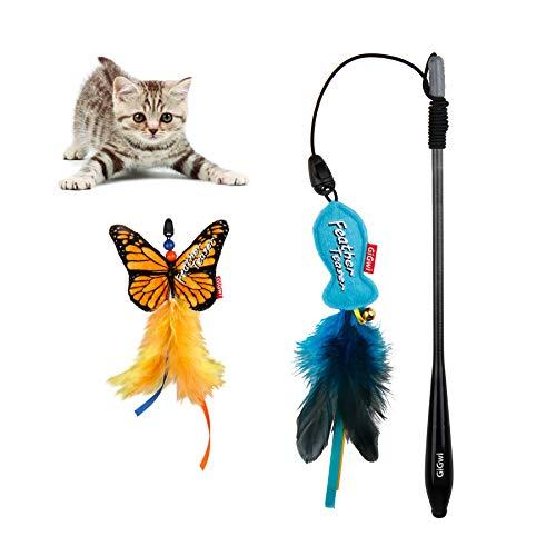 Suhaco GiGwi Katzenspielzeug für den Innenbereich, interaktives Katzenspielzeug, Katzenminze, Federn, Kätzchenspielzeug, Kohlefaser-Zauberstab mit zwei Ersatzteilen