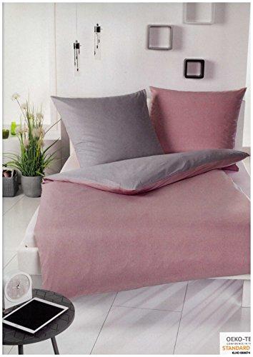 Brandsseller Microfaser Wende-Bettwäsche Bettbezug Garnitur Set Eva - für Kopfkissen und Bettdecke mit Reißverschluss - Rosa