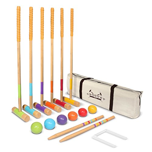 GoSports Premium Croquet Set - Full Size for Adults & Kids, Multicolor (CROQUET-01)