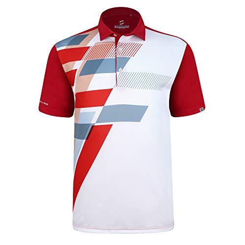 SAVALINO Men's Bowling Polo Shirts Material Wicks Sweat & Dries Fast, New Finishing Technologies to Combat Smell with Material Wicks Sweats & Dries Fast 2XL Red