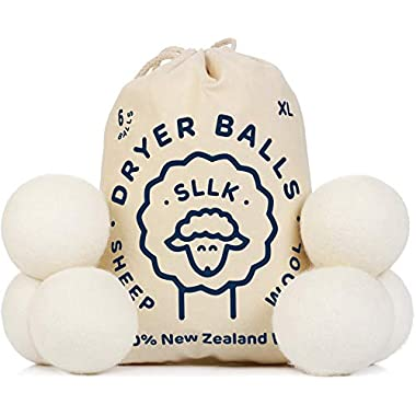 Wool Dryer Balls Organic - Wool Balls for Dryer - Wool Laundry Balls - Wool Dryer Sheets - Dryer Balls Laundry - Clothes Dryer Balls - Natural Fabric Softener Pack 6 New Zealand Wool Safer Alternative