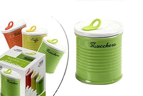 GICOS IMPORT EXPORT SRL Tris Set 3 pz barattoli in Porcellana Cucina 10 * 10 * 11 cm Sale Zucchero caffè Color ILE 607370