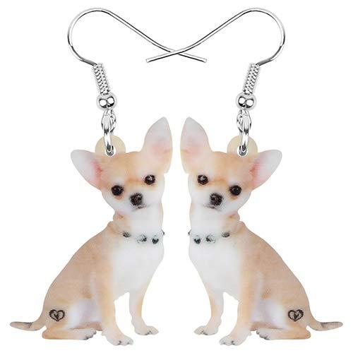 Pendientes De Clip Aros Los Pendientes De Acrílico para Perros De Chihuahua Animal Drop Cuelgan...