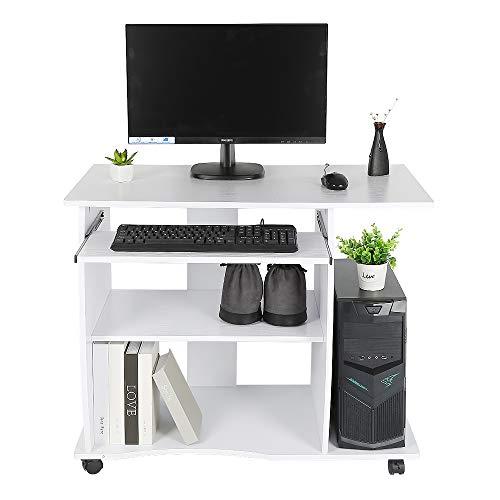 Turefans Mesa de Ordenador con Ruedas,Escritorio de la Computadora, 90 * 50 * 75 cm (Blanco)