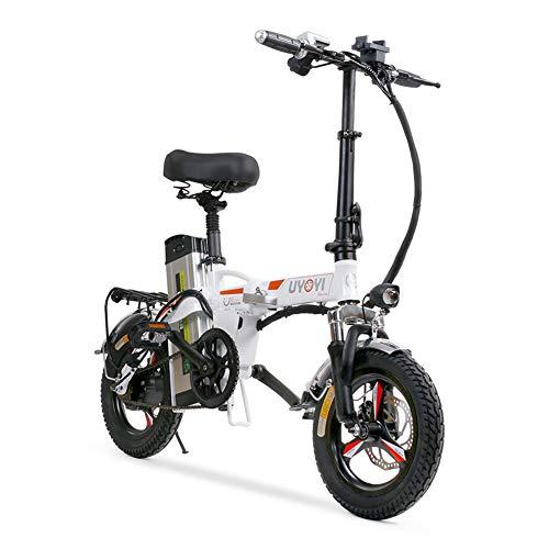 Citybike Leicht Elektrofahrrad Bike Fahrrad, 400W Motor Klapprad Fahrräder, E-Bike Mountainbike Electric Bike Faltrad, LED Batterie-Licht, Quick-Fold-System, Klappfahrrad Für Herren Damen,Weiß