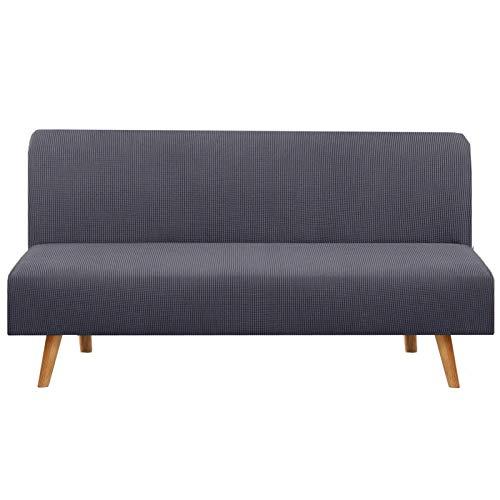 XYWML Funda Sofa Cama Sin Brazos, Elástica Ajustable Clic Clac De 3 Plazas Sin Reposabrazos Extensible (Gris Oscuro)