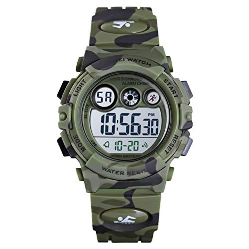 Jungen Digitaluhr Kinder Sport 5 ATM Wasserdicht Digital Uhren Alarm Timer LED Alarm Stoppuhr Datum Multifunktional Kinderuhren Armbanduhr Für Jugendliche,Army Green Camouflage
