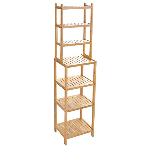7-Tier Bamboo Bathroom Shelf, Narrow Shelving Unit, Multifunctional Storage Rack, Wood Corner Rack, for Kitchen, Livingroom, Bedroom, Hallway Natural