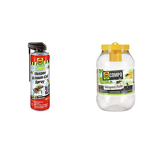 COMPO Wespen Schaum-Gel-Spray inkl. Sprührohr, Sofort- und Langzeitwirkung, 500 ml + Wespen-Falle, Insektizidfrei, Bis zu 3 Wochen Langzeitwirkung, Wiederbefüllbar