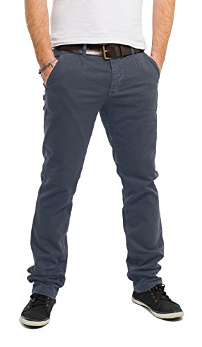 Banqert Herren Chino Hose-n Curepipes Männer Lange Slim-fit Freizeithose-n Pant-s aus zertifizierter Baumwolle, Herren-Hose Stoffhose-n, Dunkel-Grau 34-32