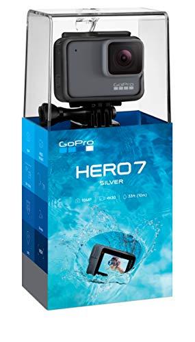GoPro Hero7 Silver - Cámara de Acción, Sumergible hasta 10m, Pantalla Táctil, Vídeo 4K HD, Fotos de 10 MP, color Gris