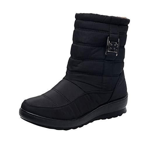 ZODOF Botas de Nieve para Mujer Mujeres Calientes de Invierno Botas para la Nieve Botas Casuales para Mujer Botines cálidos Botas de Mediana Edad