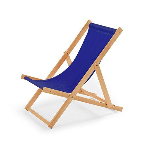 IMPWOOD Houten ligstoel, relaxstoel, strandstoel, houten ligstoel blauw