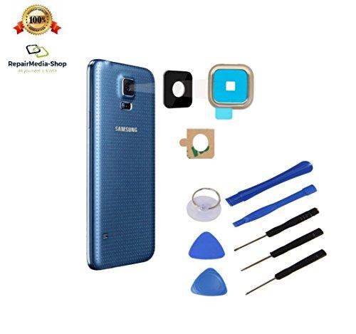 für Samsung Galaxy S5 Gold KAMERALINSE Kamera LINSE Glas Scheibe Lens Rahmen OBJEKTIV + WERKZEUGSET