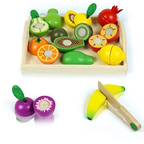 Symiu Cocina Juguetes de Madera Montessori para Niños Juegos de Cortar Frutas 20 Piezas con Cuchillo de Madera Regalos para Niños Niñas 3 4 5 6 Años