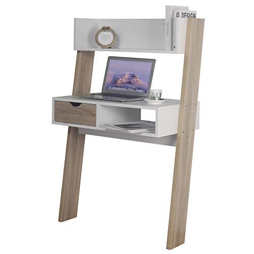 Oak & White Ladder Desk 1 Drawer Shelf Wooden Bedroom Computer Table Work Office