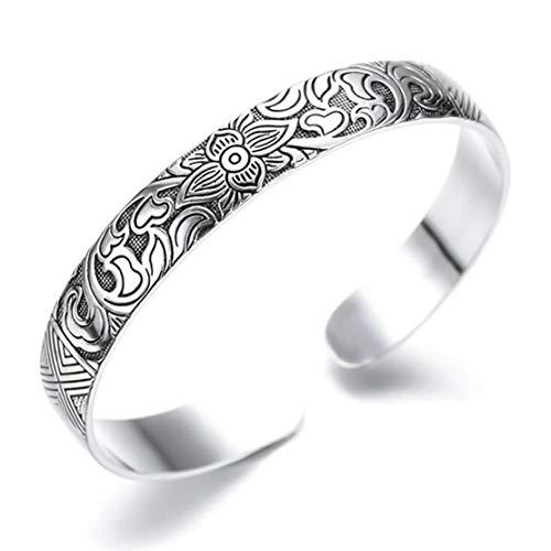 STYLE4-NATURE® Geschenk für Frauen Weihnachten, Yoga Boho Lotus Armreif aus Silber u. Titan für Damen Geschenkidee