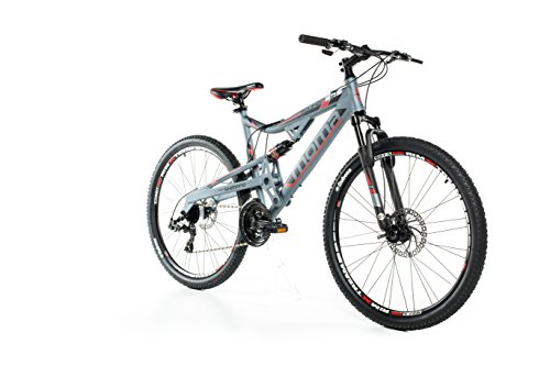 Moma Bikes, EQX 27,5' Mountain Bike, Grey, Aluminum, SHIMANO 24 Speeds, Disc Brakes, Double Suspension (Several sizes available)