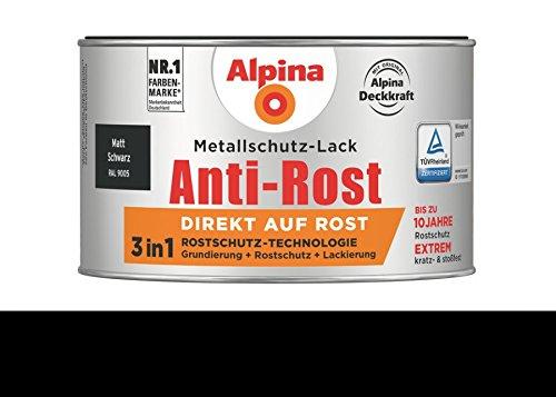 Alpina 300 ml Metallschutz-Lack, 3in1 Direkt auf Rost, RAL 9005 Schwarz Matt