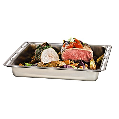 Xavax 00111504 Rectangular Acero Inoxidable - Bandeja de Horno (Rectangular, Plata, Acero Inoxidable, 465 mm, 370 mm, 70 mm)