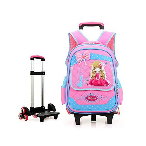 Luqifei Bambini Trolley Zaino Trolley Ragazze Zaino della Principessa Children Bambini Scuola elementare Impermeabile 6 Ruote Trolley Trolley Bookbag Bagaglio a Mano (Color : Pink, Size : Free)