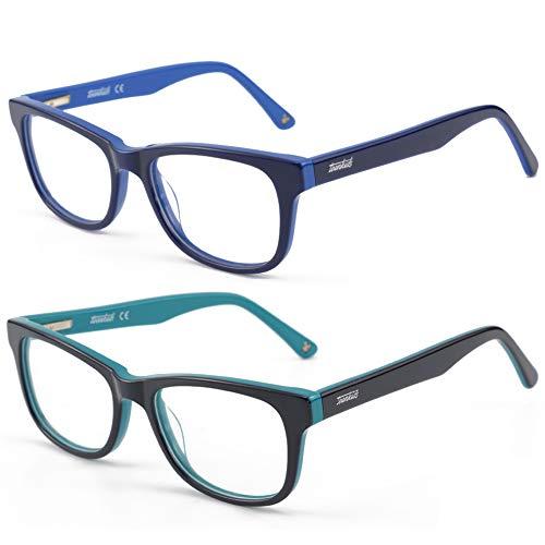 Kids Blue Light Blocking Glasses 2 Pack, Anti Eyestrain & UV Protection, Computer Gaming TV Phone Glasses for Boys Girls Age 5-12