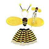 CheeseandU Bee Costume for Kids, 4Pcs Honeybee Costume Set with 1 Pair of Wings and Antenna Headband, Stripe Dress and Bee Wand, Cute Halloween Costume for Girls and Boys, Fun Pretend Play Accessories, Black and Yellow