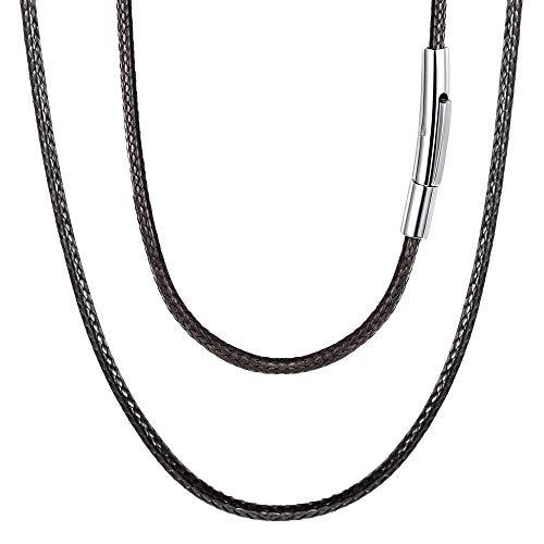 FOCALOOK 2mm Collares Finos Negros de Cordones Trenzados para Hombres y Mujeres 45cm Longitud Cadenas Dudaderas con Broche Metálico Acero Inoxidable