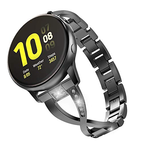 MoKo Cinturino Compatibile con Galaxy Watch 3 41mm/Galaxy Watch Active/Active 2/Galaxy Watch 42mm/Gear S2 Classic/Huawei Watch GT/GT 2 42mm, Cinturino da Polso in Acciaio, Pin Sgancio Rapido - Nero