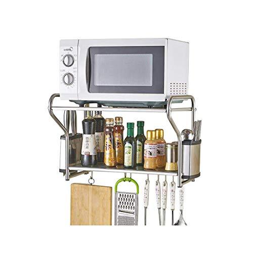 ZYL-YL Estante de acero inoxidable estante del horno microondas estante de montaje en pared Grill Utensilios de cocina Horno 2 Plantas Planta de almacenamiento en rack de almacenamiento de utensilios