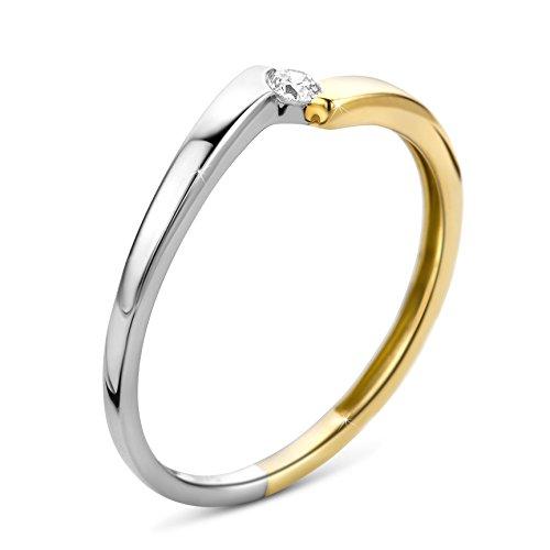 Orovi Ring für Damen Verlobungsring Gold Solitärring Diamantring 9 Karat (375) Brillianten 0.05crt Bicolor/Weißgold und Gelbgold Ring mit Diamanten
