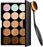 Spanking Beauty 15 Colors Contour Face Cream Makeup Concealer Palette + Oval Make up Brush