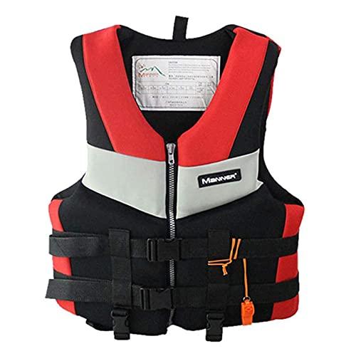 HLYT-0909 Chaleco salvavidas portátil con silbato de emergencia, chalecos de pesca de profesión, surf, natación, kayak, a la deriva, traje de baño, rojo, XXL