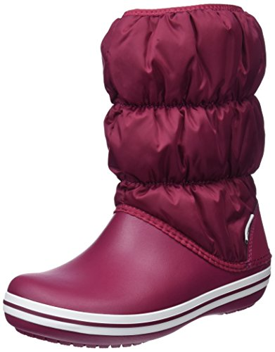 Crocs Winter Puff Boot, Botas de Nieve para Mujer, Rojo (Pomegranate/White), 34/35 EU