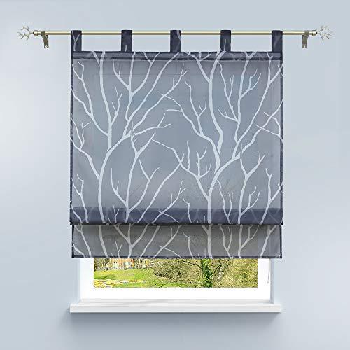 HongYa Raffrollo mit Schlaufen Transparente Raffgardine Voile Schlaufenrollo Küche Kleinfenster Gardine mit Äste Muster H/B 140/100 cm Grau