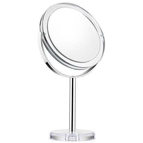 Beautifive Espejos de Maquillaje con Aumento 1x/7x, Espejo Cosmético con Soporte, Espejo de Mesa con Rotación de 360° para Maquillaje, Afeitado y Cuidado Facial, Estilo Retro
