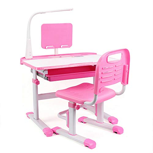 Aohuada Kinderschreibtisch Höhenverstellbar Schülerschreibtisch mit Stuhl und Schublade, mit LED Lampe Schülerschreibtisch Schreibtisch für Kinder und Schüler (Rosa)