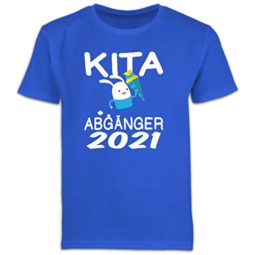 Einschulung und Schulanfang - Kita Abgänger 2021 rennender Hase mit Schultüte - 116 (5/6 Jahre) - Royalblau - schultüte Jungs - F130K Schulanfang - Schulanfang Jungen T-Shirt Kinder