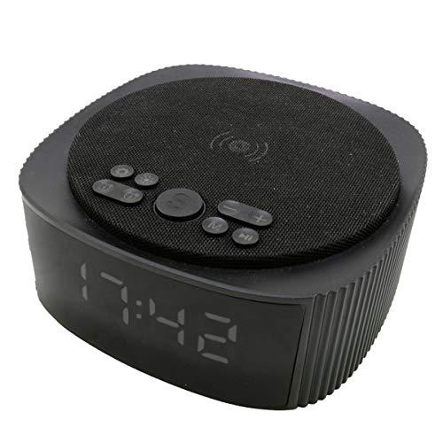 KSIX Despertador con Carga inalámbrica 10W Altavoz Bluetooth con Alarma y Radio FM