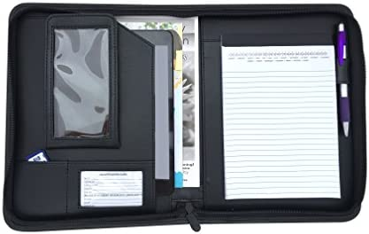Small Zippered Business Padfolio with Junior Notepad Black PU Leather Portfolio Binder with product image