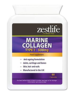 Zestlife Collagen 750mg 2 X 60 capsules HIGH STRENGTH / PURE COLLAGEN capsules | Collagen naturally contains glucosamine and chondroitin | Premium GMP Supplement | Supports healthy joints / skin / hair. from Zestlife