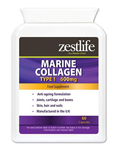 Zestlife Collagen 750mg | 60 HIGH STRENGTH/PURE COLLAGEN capsules | Collagen naturally contains glucosamine and chondroitin | Premium GMP Supplement | Supports healthy joints/skin/hair.
