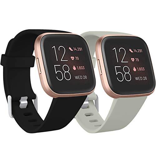 Ouwegaga Kompatibel für Fitbit Versa Armband/Fitbit Versa 2 Armband, Weiches Silikon Ersatz Armband Kompatibel mit Fitbit Versa Lite Armband, Damen Herren Klein, Schwarz/Grau