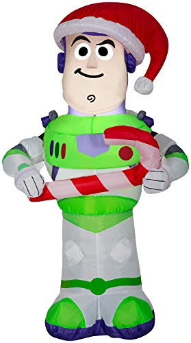 Gemmy 3.5 Foot Toy Story Buzz Lightyear Airblown Inflatable with Candy Cane