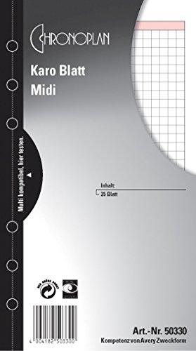 Ersatzeinlage Midi 25BL kariert CHRONOPLAN 50330 Notizen