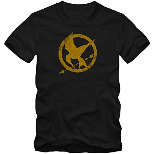 Tribute von Panem T-Shirt | Herren | Fantasy | Science-Fiction-Film | Film-Fun-Shirts, Farbe:Schwarz (Deep Black L190);Größe:S