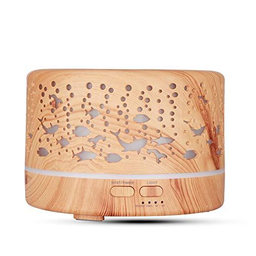 TinaDeer Aroma Diffuser mit fernbedienung, 500ml Ultraschall Öl Diffusor Holzmaserung Luftbefeuchter Aromatherapie Zerstäuber mit 7 Farben LED Licht Nachtlicht, Muttertagsgeschenk (Gelb)