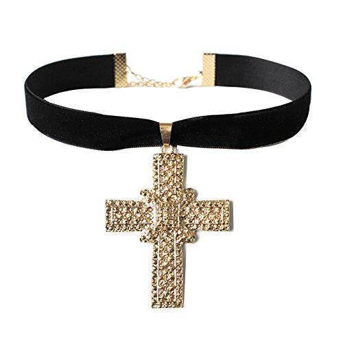 Schwarz Kreuz-Anhaenger Kette Halsband Gotik Lolita Punk Choker Kragen Halsband