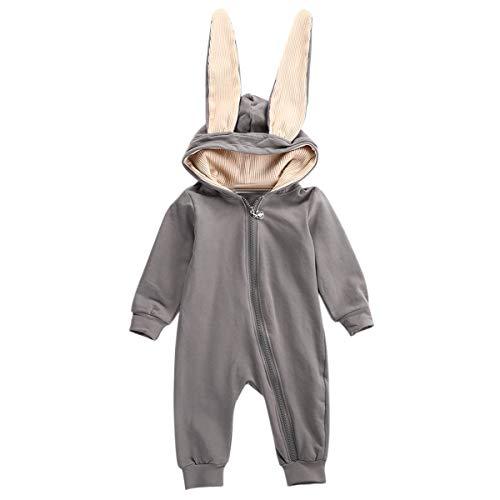 Puseky Combinaison bébé garçon Filles Filles Longue Oreille Lapin Barboteuse à Capuche (Color : Grey, Size : 0-3M)