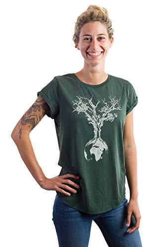 Life Tree Ropa Justa orgánico Camiseta Mujer Weltenbaum de